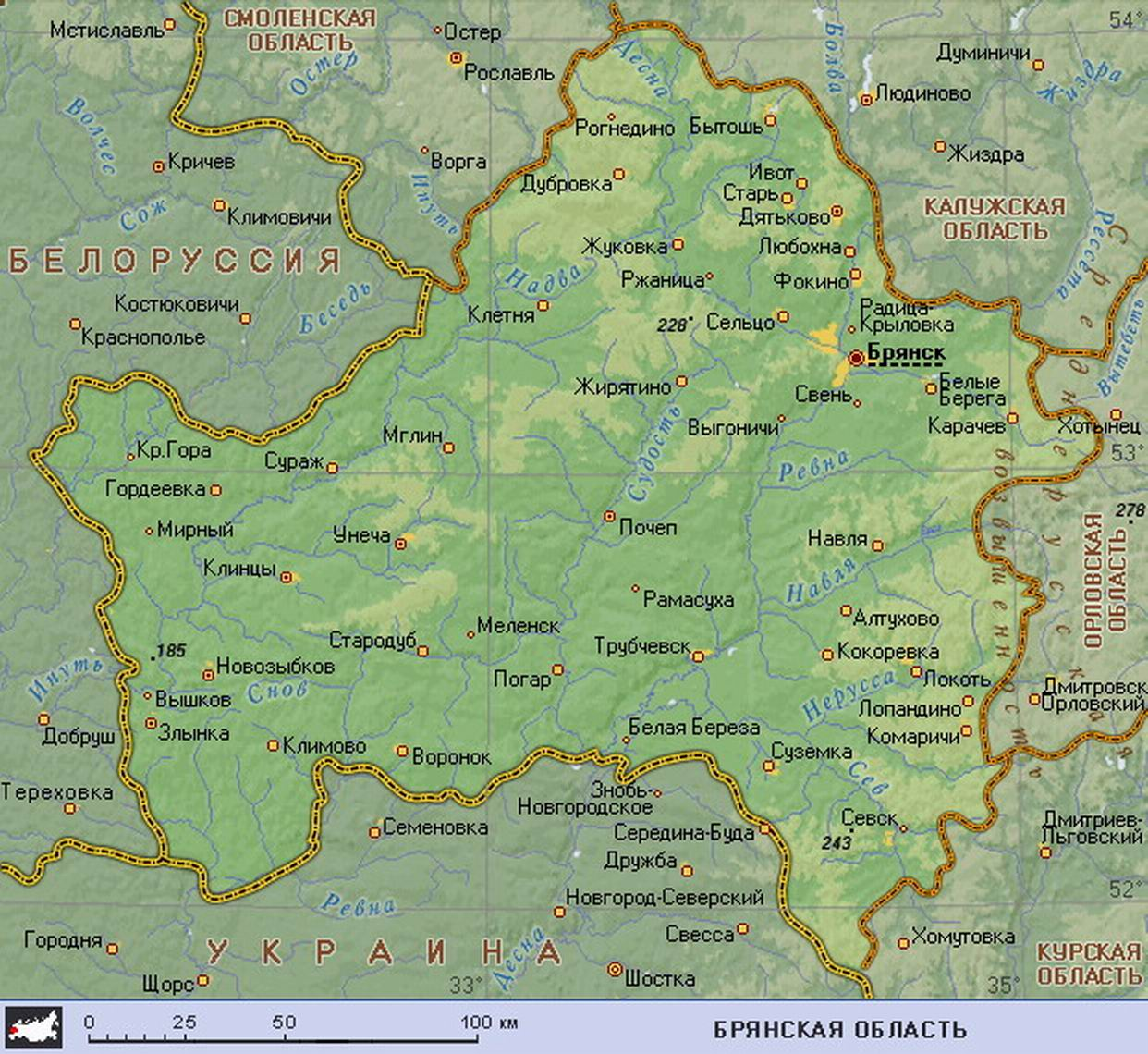 Карта россии где находится брянск на карте россии